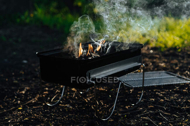 Metal griddle with burning flame of charcoal and smoke placed on ground in woods — Stock Photo