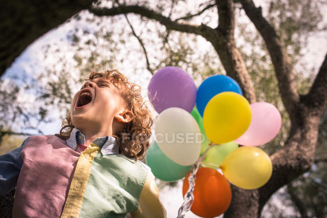 Preschooler boy with mouth open sitting on tree with balloons — Stock Photo