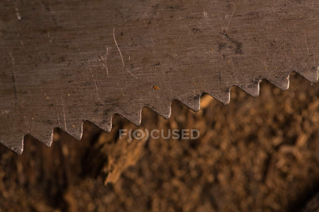 Close-up of old rusty handsaw blade — Stock Photo
