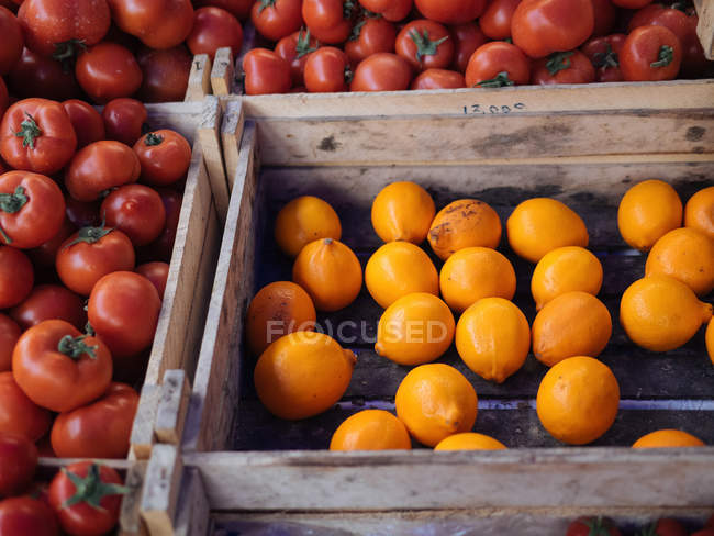 Fresh oranges and tomatoes in wooden boxes at farmer market — Stock Photo