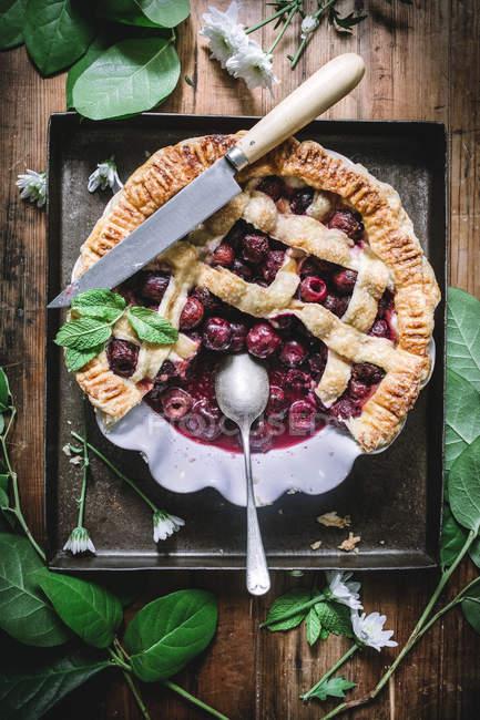 Piatto posare di torta di ciliegie al forno con crosta della grata servita sulla tavola rustica con foglie verdi — Foto stock