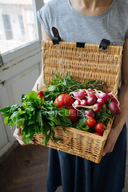 Женщина в рубашке и юбке держит в руках корзину с открытой крышкой, полной ярких свежих помидоров, перца, редиса и potherbs — стоковое фото