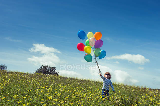 Boy in sunglasses standing with colorful balloons on field with blooming yellow wildflowers and looking up — Stock Photo