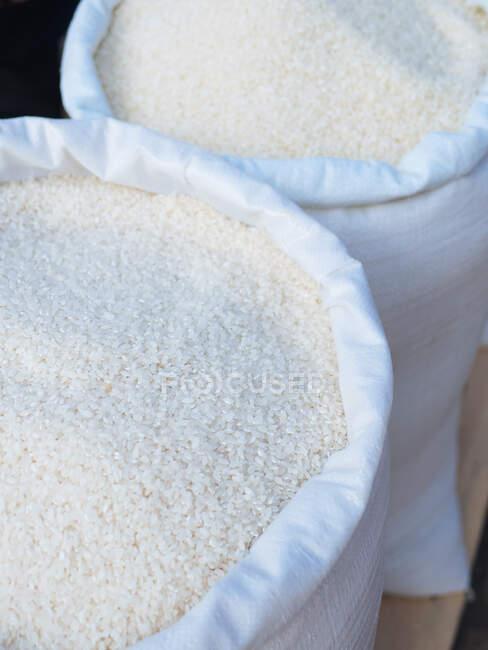 Bolsas de tela de arroz - foto de stock