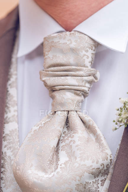 Close-up of Elegant pastel groom tie with ornament — Stock Photo