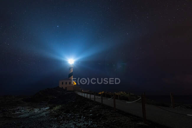 Starry Night in the Favaritx Lighthouse — Stock Photo