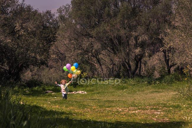 Ragazzo prescolare che corre sul prato con le braccia tese con palloncini colorati — Foto stock