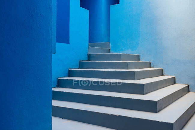 Modern architecture of a blue building stairs — Stock Photo