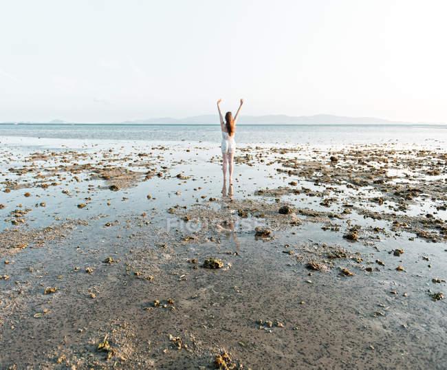 Vue arrière de la femme debout les mains en l'air sur la plage par temps ensoleillé — Photo de stock