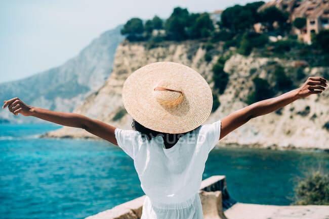 Чернокожая женщина в соломенной шляпе наслаждается видами — стоковое фото