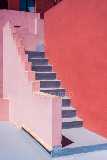 Modern architecture of a colorful building stairs — Stock Photo