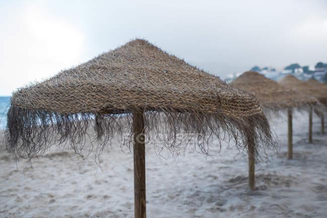 Піщаний пляж і соломи парасольки на заході сонця — стокове фото