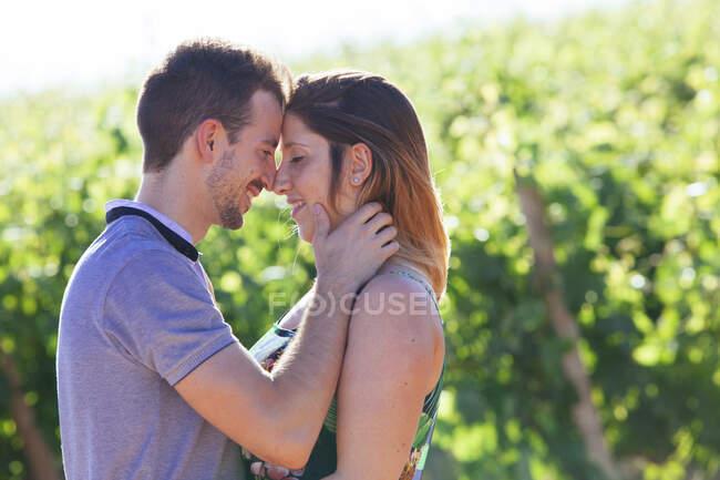 Бічний вид щасливої молодої пари з келихами вина, що обіймають і ніжно пестять, стоячи на ландшафті з виноградником. — стокове фото