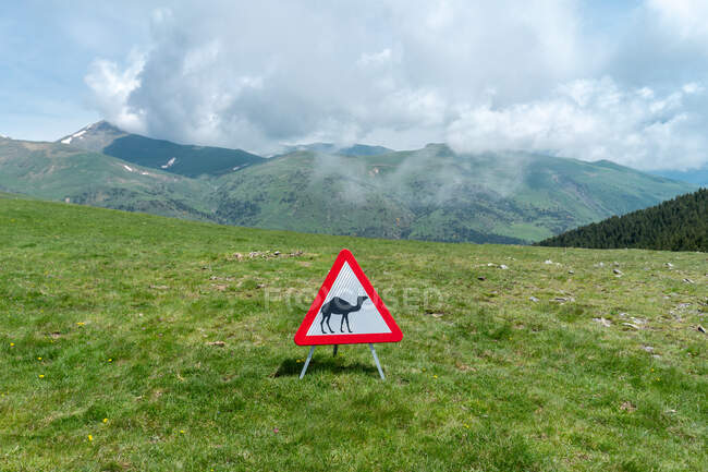 Paisaje verde de montañas y señal de peligro mostrando camello - foto de stock