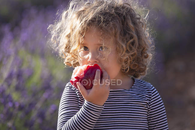 Niña comiendo melocotón en el prado a la luz del sol - foto de stock
