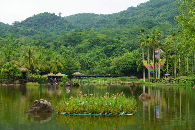Paesaggio di verde lago calmo in Yanoda Rainforest con vegetazione tropicale sulle colline, Provincia di Hainan, Cina — Foto stock