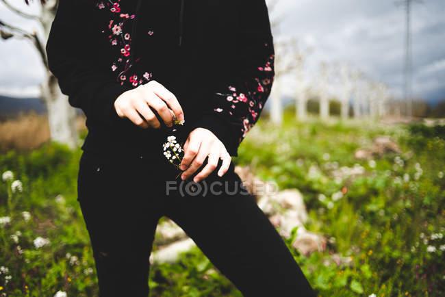 Девушка в черном наряде, держа в руках ветку цветов, стоящую в цветущем поле — стоковое фото