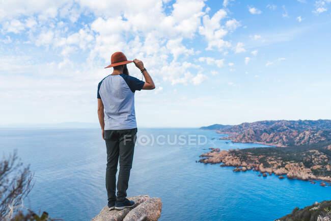 Vista trasera del hombre barbudo con sombrero parado en la playa sobre piedra y mirando hacia otro lado. - foto de stock
