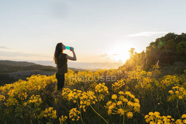 Side view of female drinking water from bottle standing at sunset on picturesque backlit background of El Montcau in Barcelona, Spain — Stock Photo
