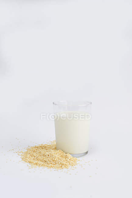 Grains of oats and glass of fresh milk on white background — Stock Photo