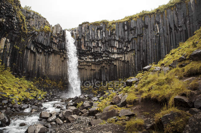 Cascade pittoresque éclaboussant de falaise rocheuse, Islande — Photo de stock