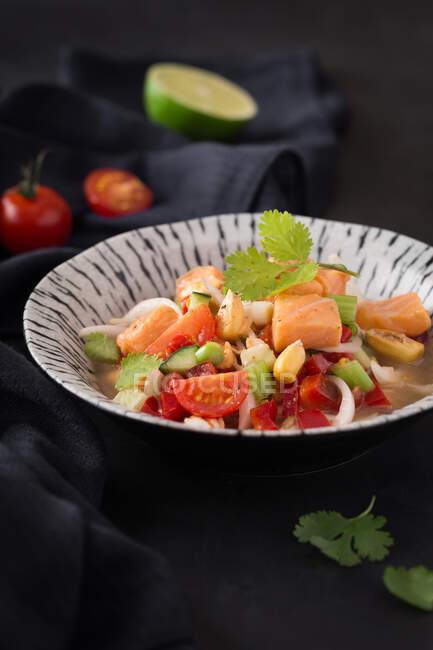 Delicioso ceviche en plato - foto de stock