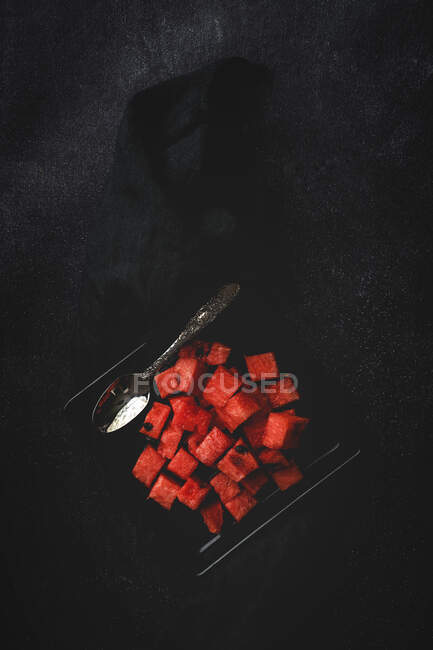 Creative layout made of fresh water melon. Flat lay. — стоковое фото