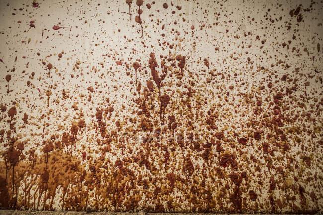 Vista de la cosecha de la pared blanca manchada con color marrón y naranja en la fábrica de fundición de metal - foto de stock