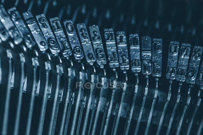 Close-up metal typebar of mechanical typewriter — Stock Photo