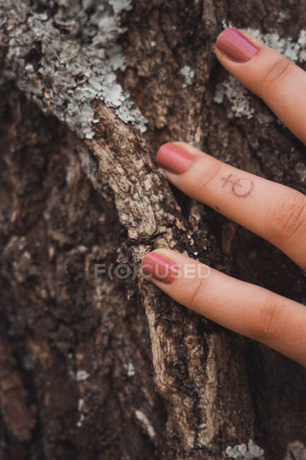 Women fingers on wood with bright manicure and small tattoo — Stock Photo