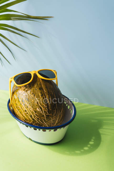 Foglie di melone fresco con occhiali da sole in ciotola su priorità bassa blu e verde con le ombre della Palma — Foto stock