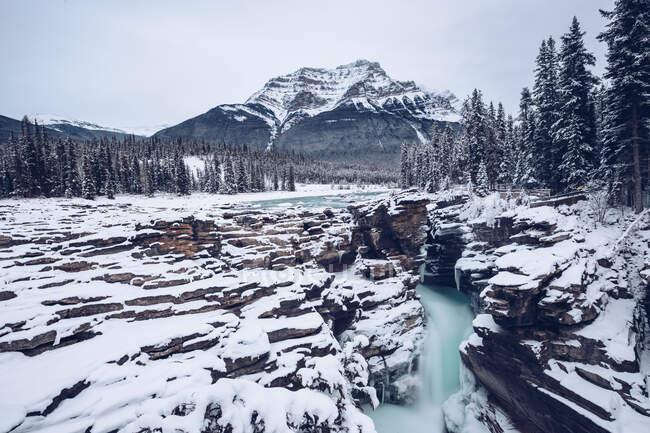 У зимових лісах на тлі з горами й хмарним небом протікає річка з сніжними берегами? — стокове фото