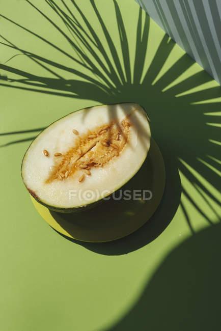 Demi melon sur fond vert avec des ombres de feuilles de palmier — Photo de stock