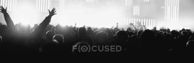 Silhouetten von unkenntlichen Menschen, die Hände hochhalten und Spaß bei erstaunlicher Musikleistung haben — Stockfoto