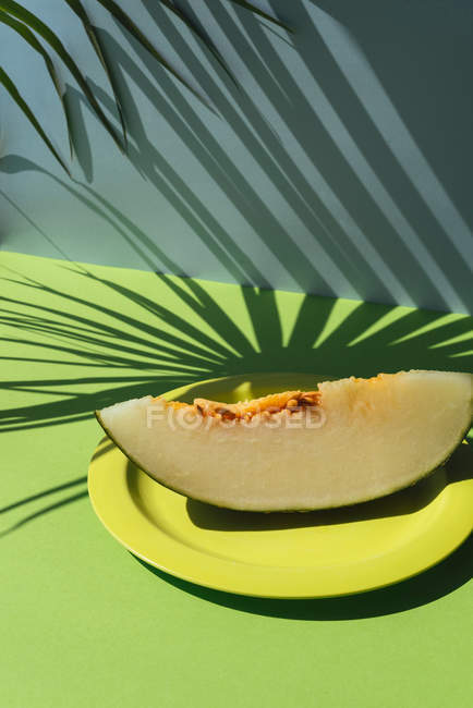 Slice of fresh melon on plate on blue and green background with shadows of palm leaves — Stock Photo