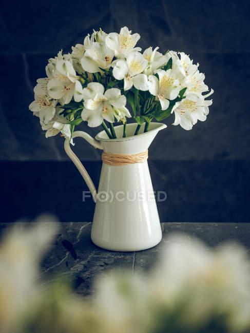 Глечик з білим квітучий букет на темному тлі — стокове фото