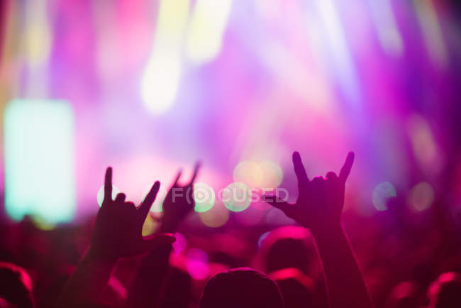 Hands of anonymous people having fun on magnificent music show — Stock Photo