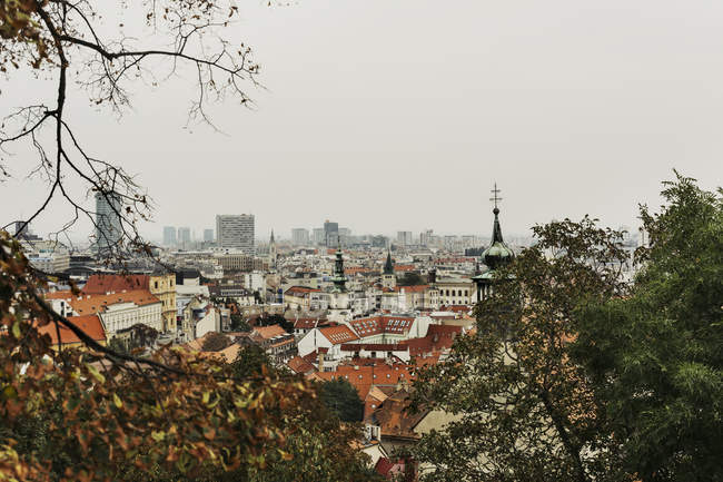 BRATISLAVA, SLOVAKIA, OCTOBER 2, 2016: old town skyline and St Michaels tower among autumnal trees — Stock Photo