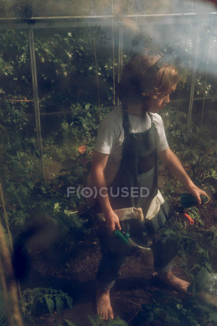 Boy listening to music while working in greenhouse — Stock Photo