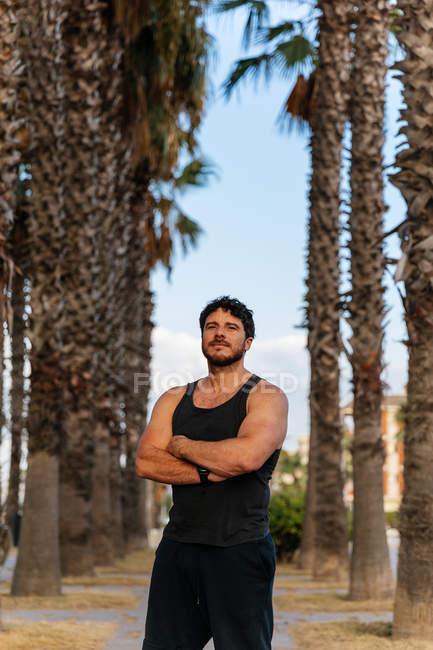 Бородатый мужчина в спортивной одежде со скрещенными руками и смотрящий в камеру, стоя среди ладоней во время тренировки на открытом воздухе — стоковое фото