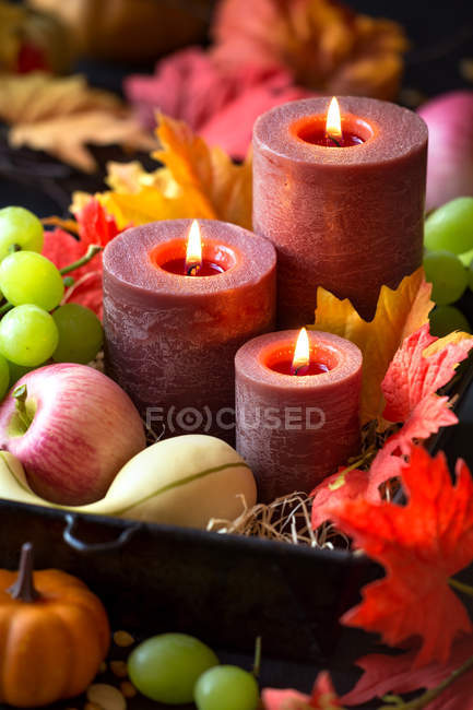 Fall composition for Thanksgiving with candles, autumn leaves, grapes, pumpkins and corn seeds — Stock Photo