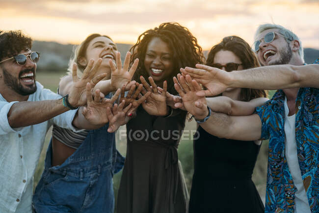 Group of diverse young friends smiling and reaching out hands towards camera while standing on blurred background of amazing countryside during sunset — Stock Photo