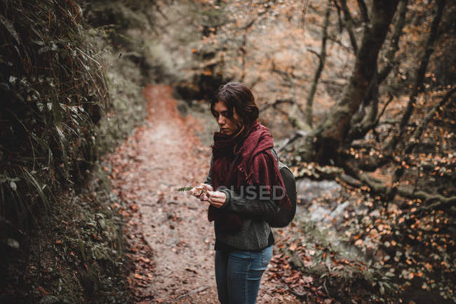 Young woman with leaf standing in forest — Stock Photo