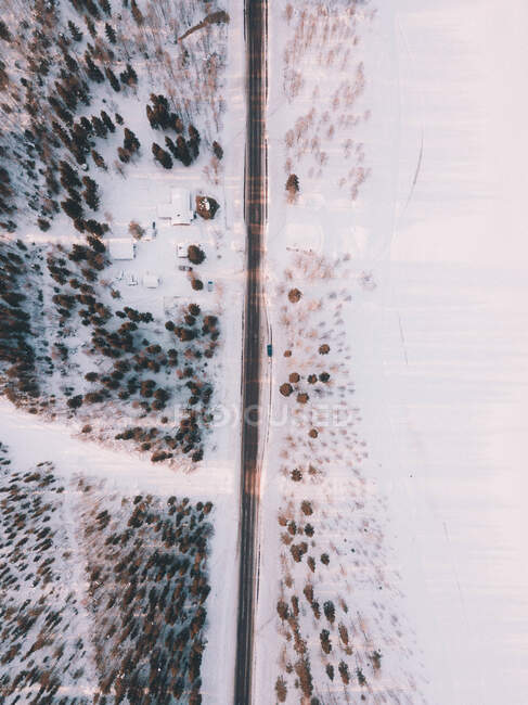 Drone view from above of remote road running straight among snowy trees and fields — Stock Photo