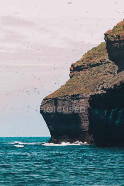 Vista di enorme formazione di scogliere sopra l'acqua turchese dell'oceano con stormo di uccelli che volano in aria — Foto stock