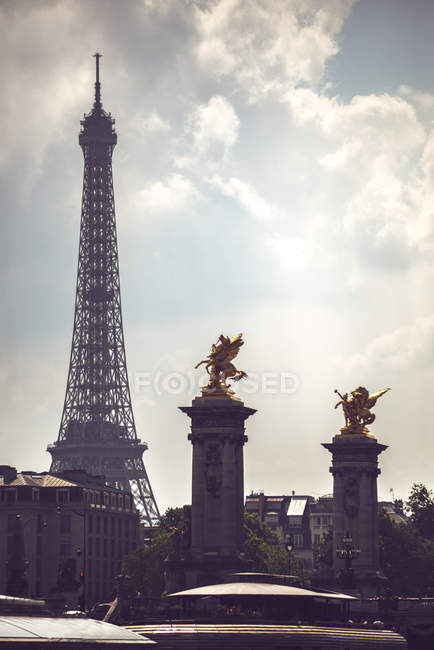 Gold covered statues and Eiffel Tower, Paris, France — Stock Photo