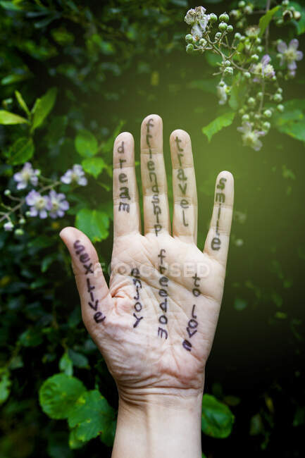 View of hand with messages — Stock Photo