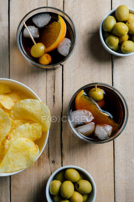 Top view of drinks and snacks — Stock Photo