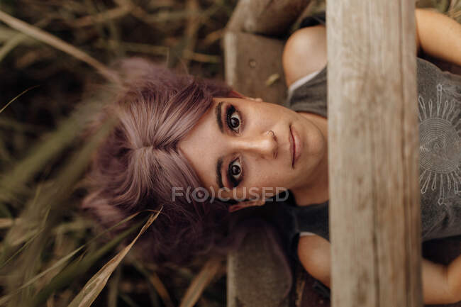 From above of beautiful woman with makeup and pink hairstyle lying on wood pier above overgrowth — Stock Photo