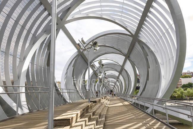 Puente moderno en el parque - foto de stock